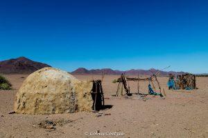 Himba kraal near Khumib river in Kaokoland